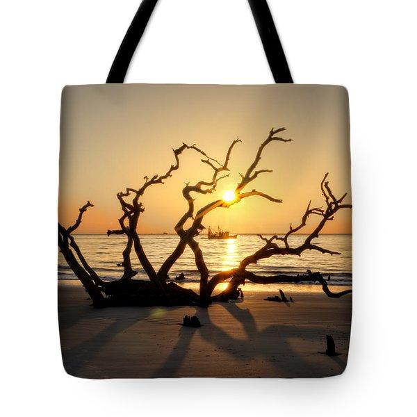 Shrimp Boat Off Driftwood Beach Tote Bag