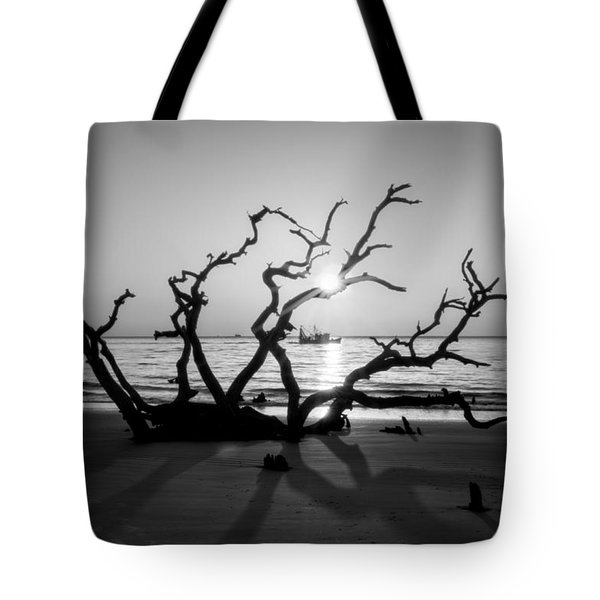Shrimp Boat Off Driftwood Beach In Black And White Tote Bag
