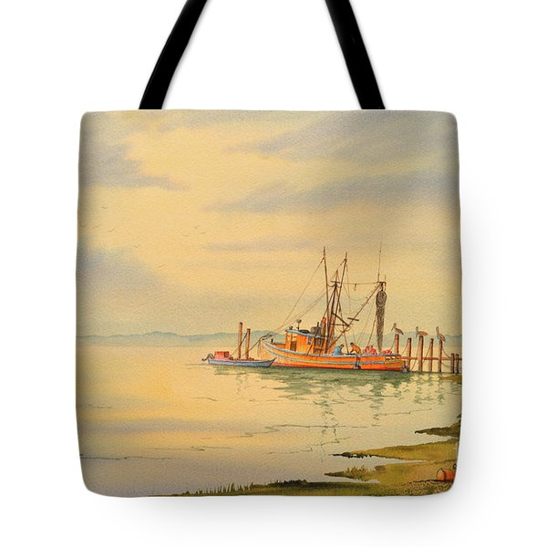 Shrimp Boat Sunset Tote Bag by Bill Holkham