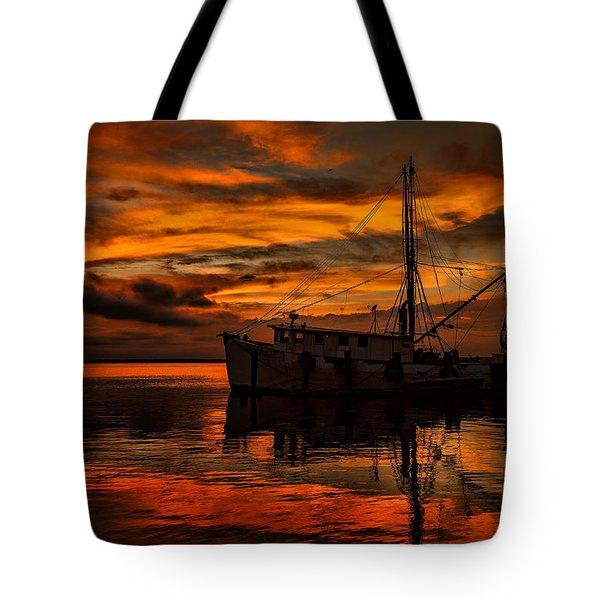 Shrimp Boat Sunset Tote Bag