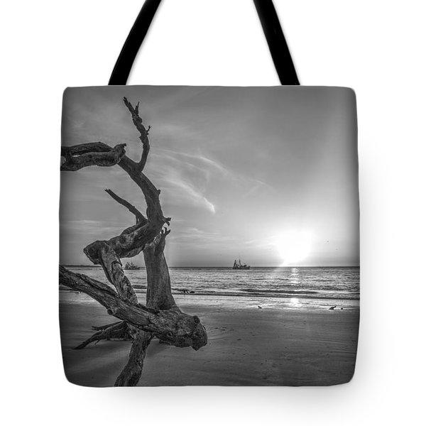 Shrimp Boats And Driftwood Tote Bag