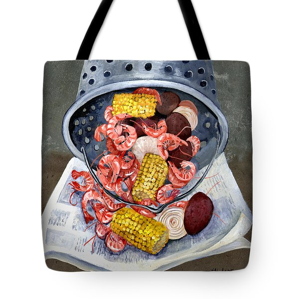 Shrimp Boil Tote Bag by Elaine Hodges