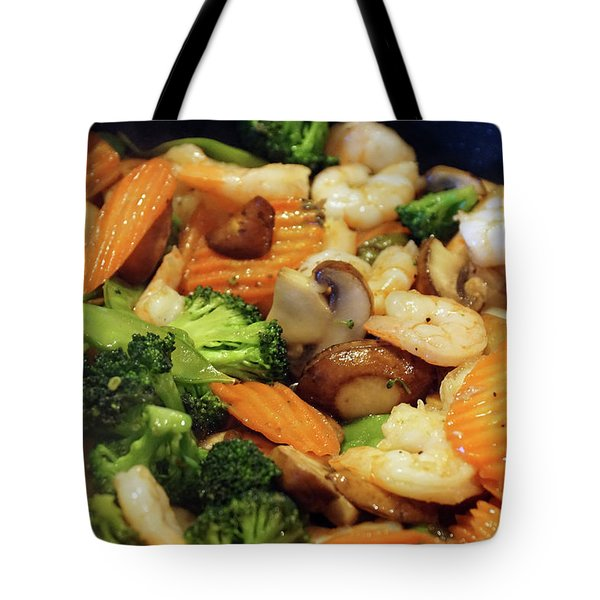 Tote Bag featuring the photograph Shrimp Stir Fry #1 by Ben Upham III