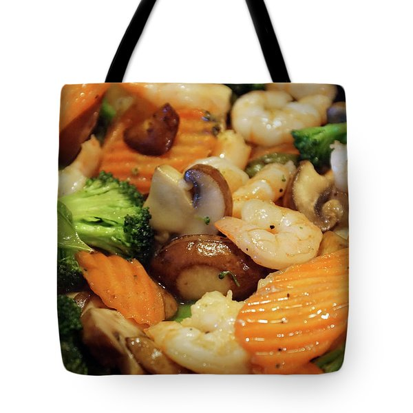 Tote Bag featuring the photograph Shrimp Stir Fry #2 by Ben Upham III