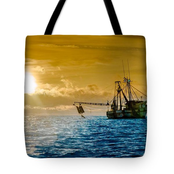 Shrimp Trawler At Dawn Tote Bag