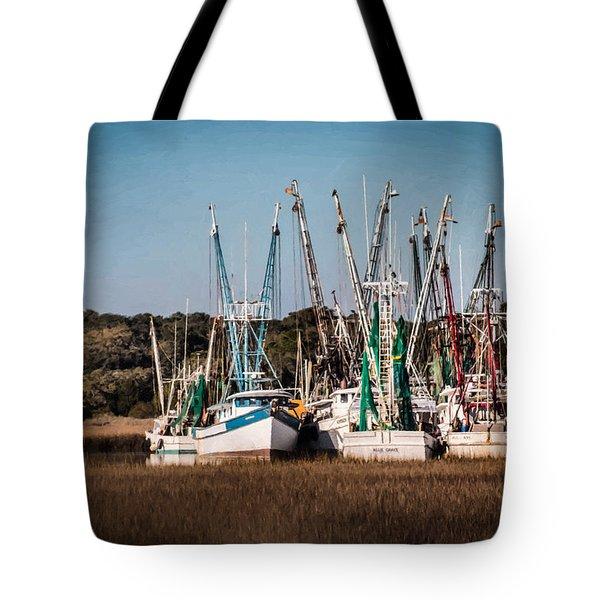 Shrimp Trawlers Tote Bag by Lynne Jenkins