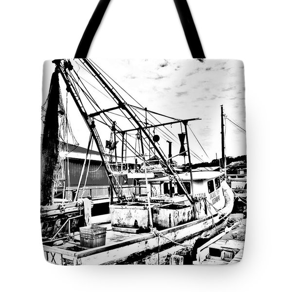 Tote Bag featuring the photograph Shrimper At Rest In Black And White by Antonia Citrino