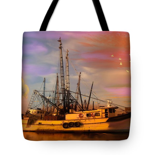 Shrimpers At Dock Tote Bag