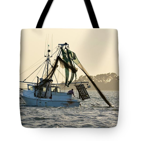 Shrimping At Sunset Tote Bag