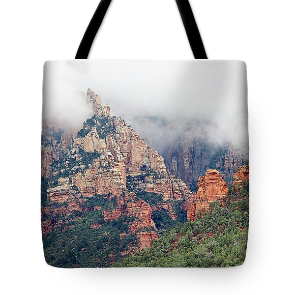 Tote Bag featuring the photograph Shrouded In Clouds by Phyllis Denton