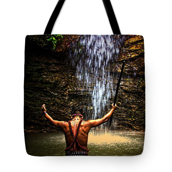 Tote Bag featuring the photograph Shuar Shaman At Sucua Ecuador by Al Bourassa