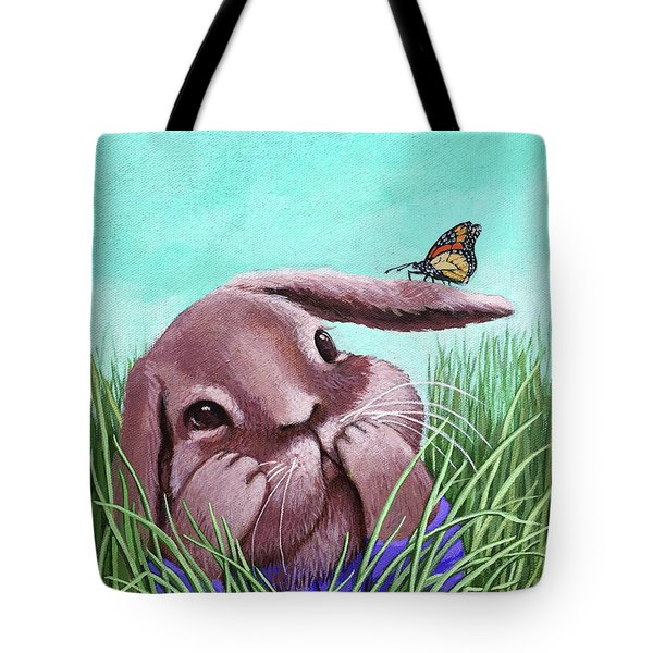 Tote Bag featuring the painting Shy Bunny - Original Painting by Linda Apple