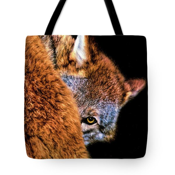 Tote Bag featuring the digital art Shy Cyote by Adam Olsen