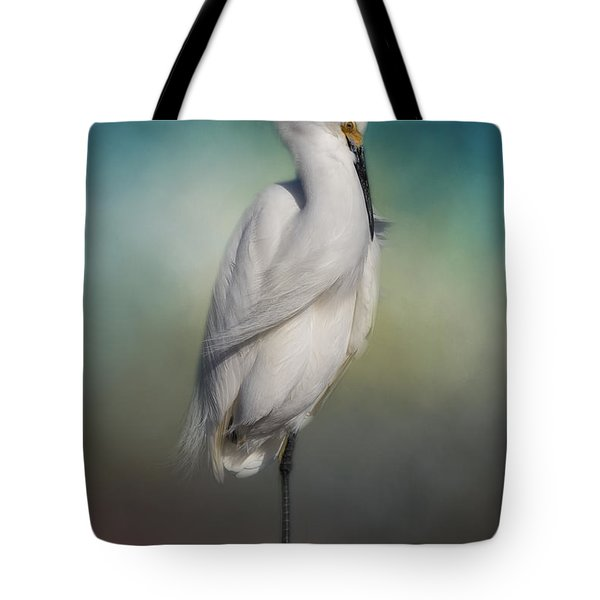 Shy Egret Tote Bag