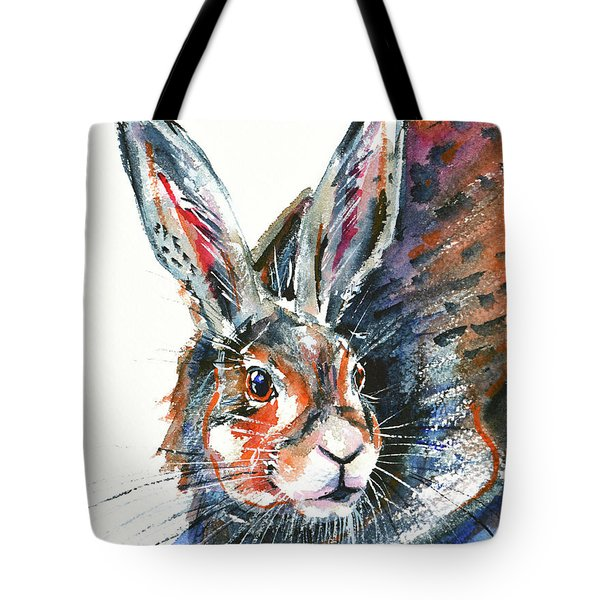 Tote Bag featuring the painting Shy Hare by Zaira Dzhaubaeva