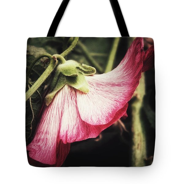 Tote Bag featuring the photograph Shy Hollyhock by Karen Stahlros