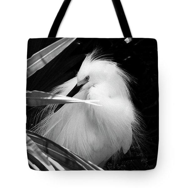 Shy Snowy Egret Tote Bag