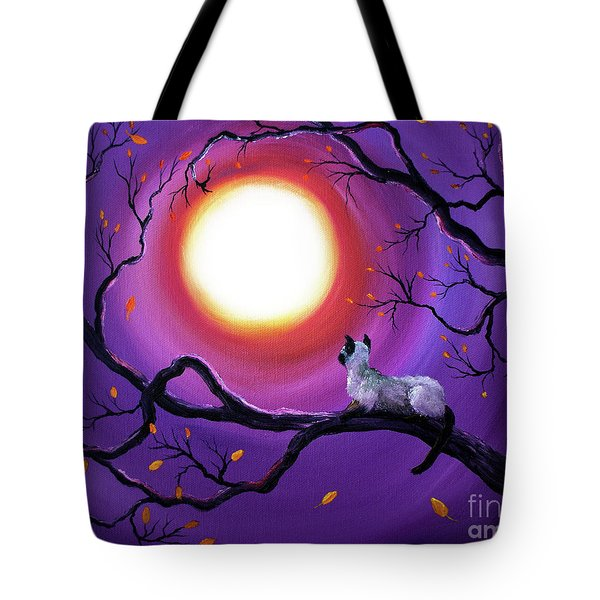 Siamese Cat In Purple Moonlight Tote Bag