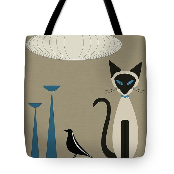 Tote Bag featuring the digital art Siamese Cat With Eames House Bird by Donna Mibus