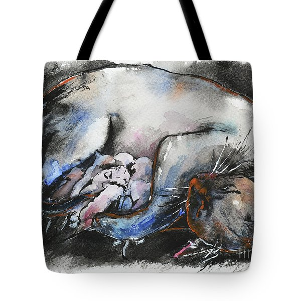 Tote Bag featuring the painting Siamese Cat With Kittens by Zaira Dzhaubaeva