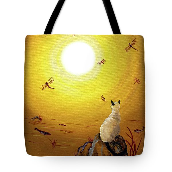 Siamese Cat With Red Dragonflies Tote Bag by Laura Iverson