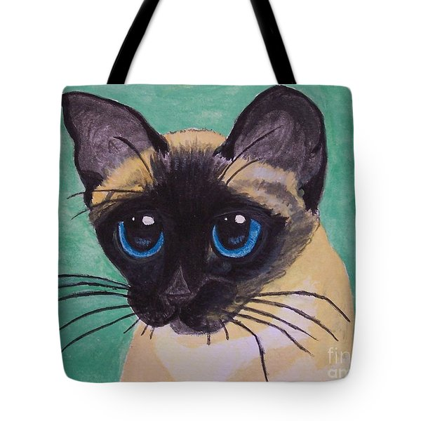 Tote Bag featuring the painting Siamese by Leslie Allen