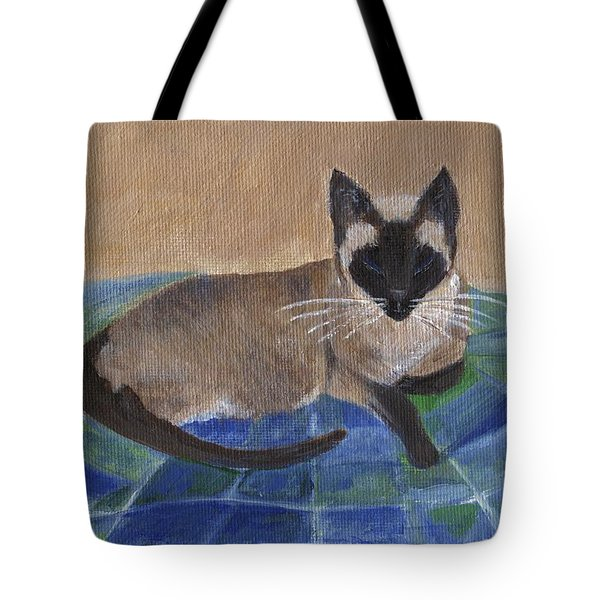 Tote Bag featuring the painting Siamese Nap by Jamie Frier