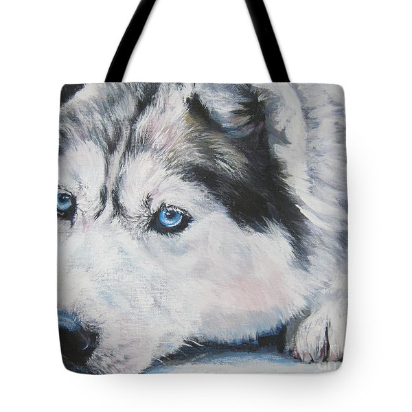 Siberian Husky Up Close Tote Bag by Lee Ann Shepard