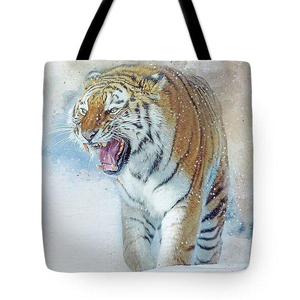 Siberian Tiger In Snow Tote Bag