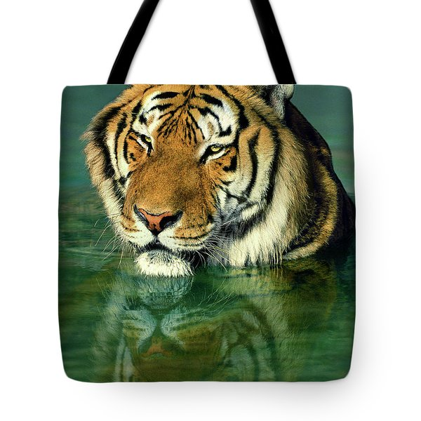 Siberian Tiger Reflection Wildlife Rescue Tote Bag by Dave Welling