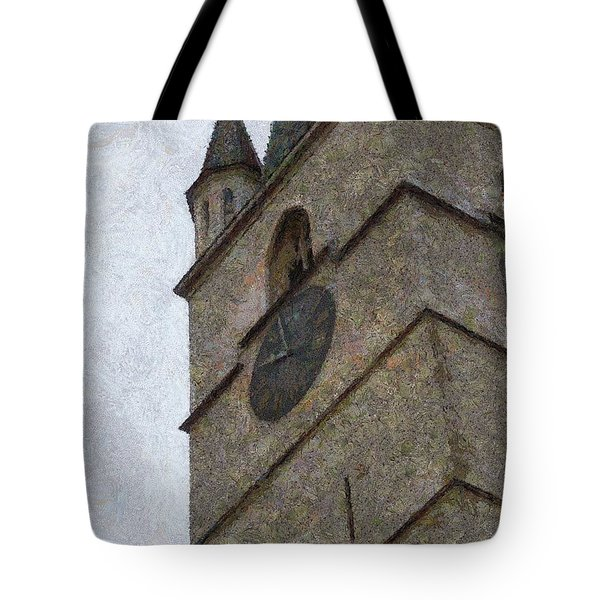 Sibiu Clock Tower Tote Bag by Jeffrey Kolker