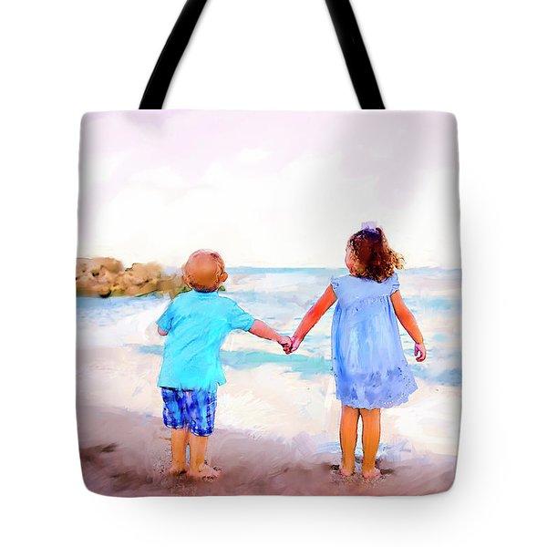 Sibling At Sunset Tote Bag