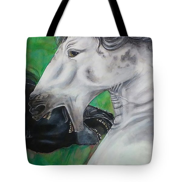 Tote Bag featuring the painting Sibling Rivalry by Thomas Lupari