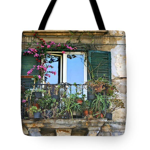 Tote Bag featuring the photograph Sicilian Balcony by David Birchall