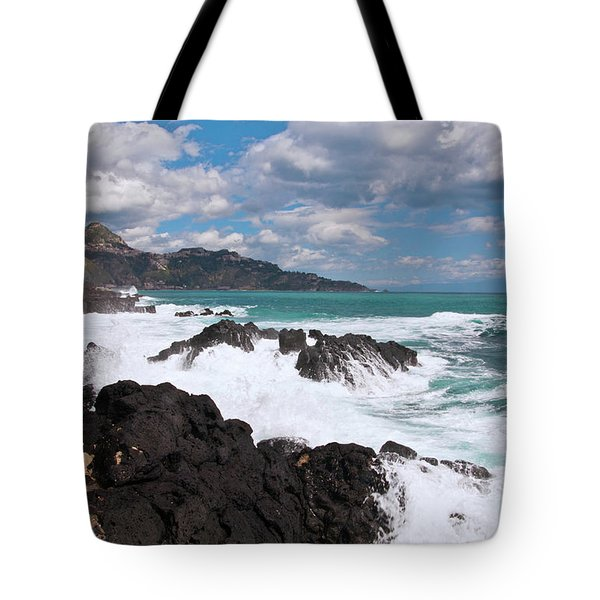 Tote Bag featuring the photograph Sicilian Stormy Sound by Silva Wischeropp