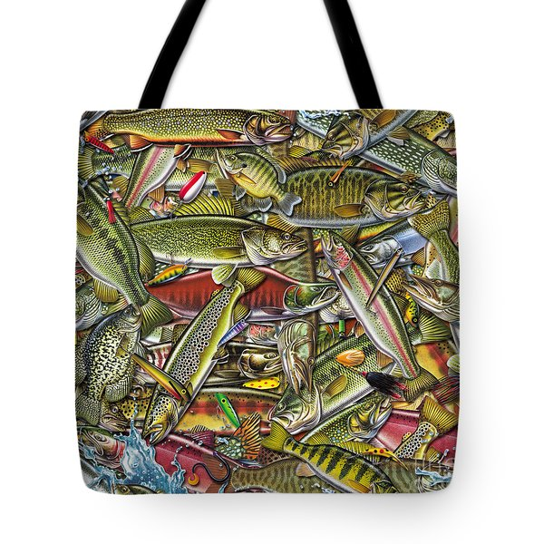 Side Fish Collage Tote Bag