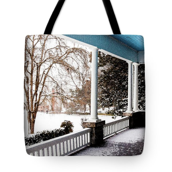 Tote Bag featuring the photograph Side Porch by Randy Sylvia