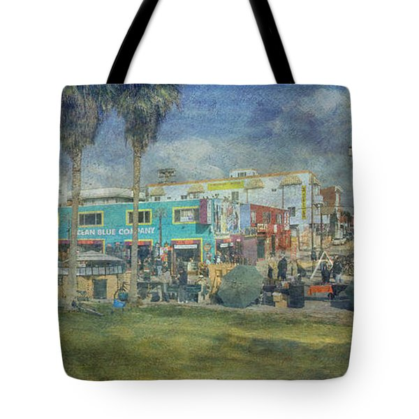 Tote Bag featuring the photograph Sidewalk Cafe Venice Ca Panorama  by David Zanzinger