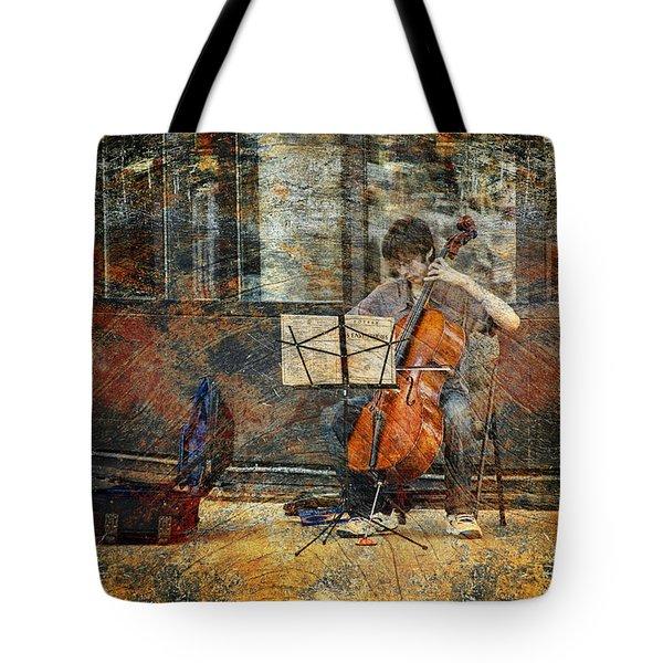 Sidewalk Cellist Tote Bag