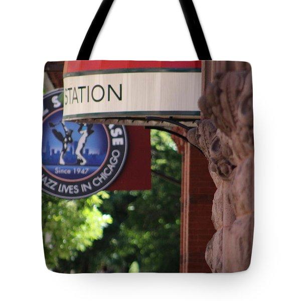 Sidewalk View Jazz Station  Tote Bag