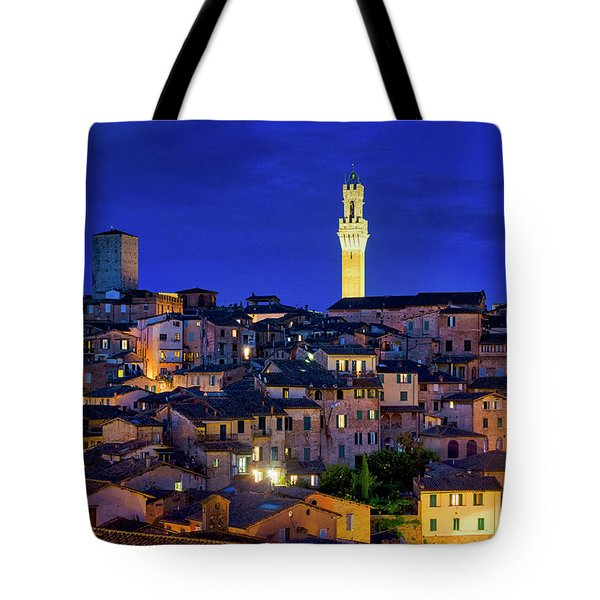 Tote Bag featuring the photograph Siena At Night by Fabrizio Troiani