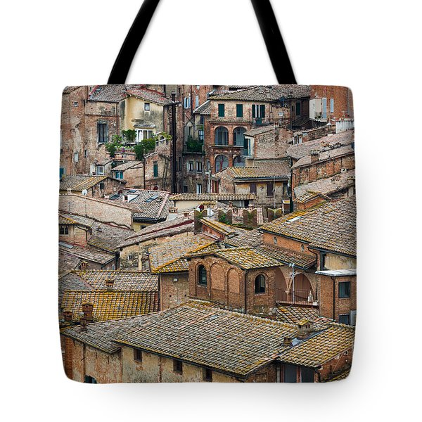 Siena Colored Roofs And Walls In Aerial View Tote Bag