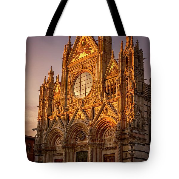Tote Bag featuring the photograph Siena Italy Cathedral Sunset by Joan Carroll