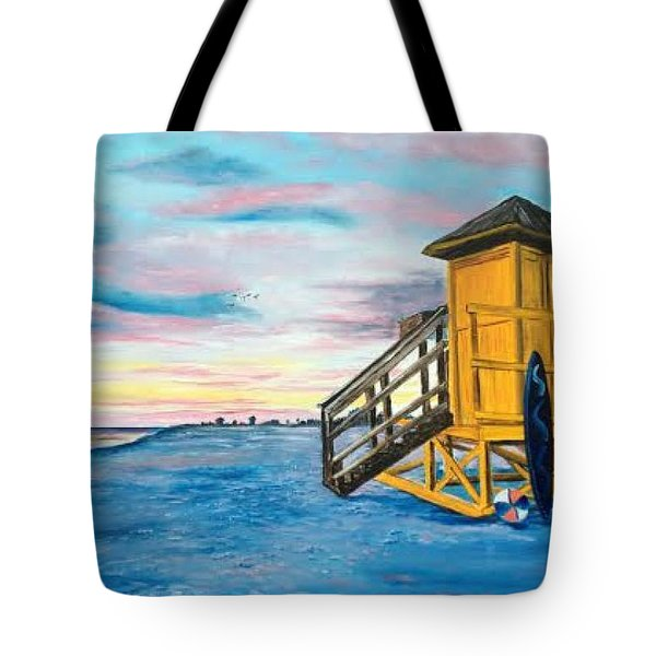 Siesta Key Life Guard Shack At Sunset Tote Bag