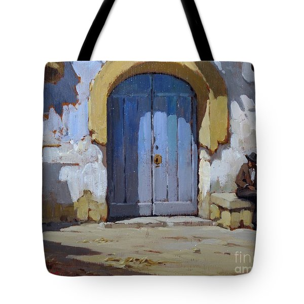 Tote Bag featuring the painting Siesta Time In Naples by Rosario Piazza
