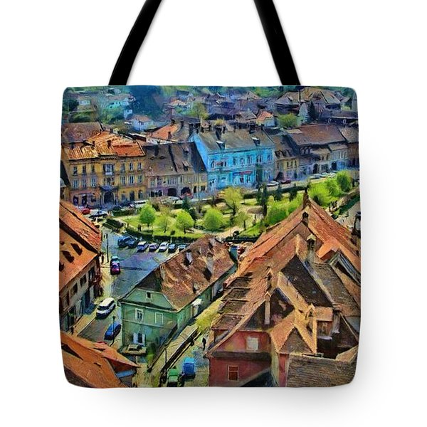 Tote Bag featuring the painting Sighisoara From Above by Jeff Kolker