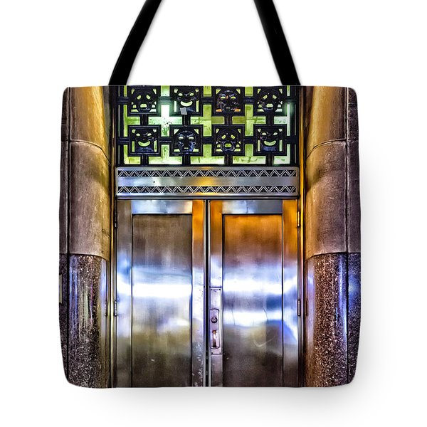 Tote Bag featuring the photograph Sights In New York City - Bright Door by Walt Foegelle