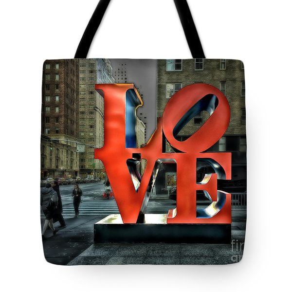 Tote Bag featuring the photograph Sights In New York City - Love Statue by Walt Foegelle