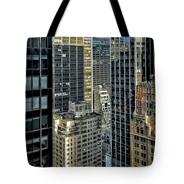 Tote Bag featuring the photograph Sights In New York City - Skyscrapers Shot From Skyscraper by Walt Foegelle