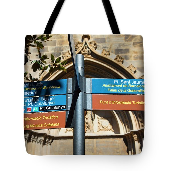 Sign La Rambia Which Way? Tote Bag